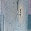Statuario Venato large format shower walls. Accessories by Czech & Speake.