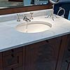 Selected light-coloured Bianco Carrara Typ C washstand counter top, with polished surface.