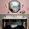 Statuario Venato washstand counter top. Accessories by Czech & Speake.